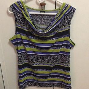 Rafaella cowl neck multi blouse women's sz large